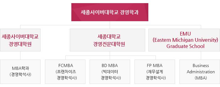 세종사이버대학교 경영학과. 세종사이버대학교 경영대학원 -MBA학과(경영학석사), 세종대학교 경영전문대학원 -FCMBA,BD MBA,FP MBA, EMU(Eastern Michigan University) Graduate School -Business Administration