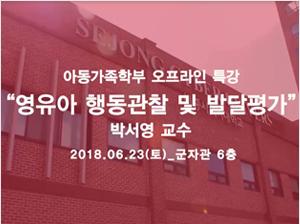 제 10회 발달심리워크샵 <영유아행동관찰 및 발달진단평가>
